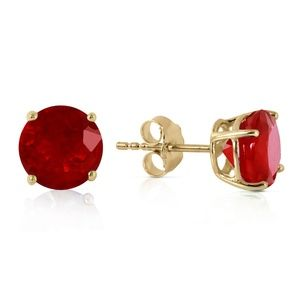 14K. SOLID GOLD STUD EARRING WITH NATURAL RUBIES